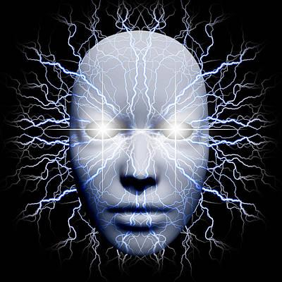 Surrealism Digital Art Rights Managed Images - Lightning mask Royalty-Free Image by Bruce Rolff