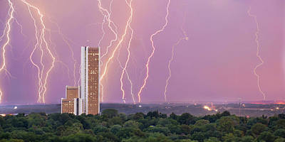 Royalty-Free and Rights-Managed Images - Lightning Over CityPlex Towers - Tulsa Oklahoma Panorama by Gregory Ballos