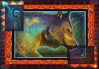 Animals Paintings - Lightning Path by Kevin Chasing Wolf Hutchins