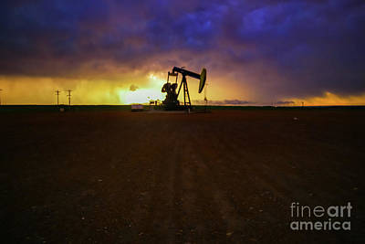 Vintage Presidential Portraits - Lightning strike in the background of a pumpjack by Jeff Swan