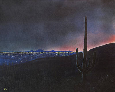 Painting Rights Managed Images - Lights of Tucson, Arizona with Saguaro Cactus Royalty-Free Image by Chance Kafka