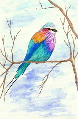 Animals Royalty-Free and Rights-Managed Images - Lilac Breasted Roller Bird Watercolor Painting by Itaya Lightbourne