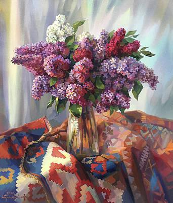 Painting - lilac on Armenian carpet by Meruzhan Khachatryan