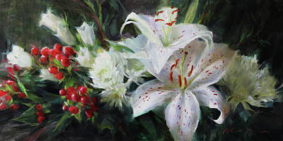 Painting - Lilies and Canterbury Bells by Anna Bain