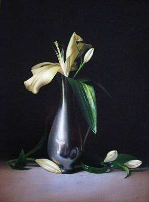 Painting - Lilies and pewter vase by Peter Thomas Foster