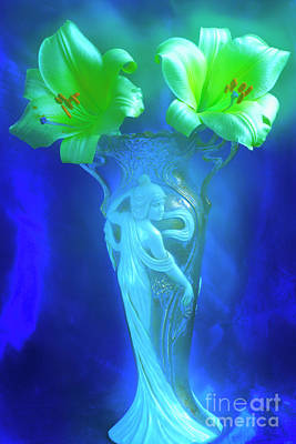 Whimsical Flowers - Lilies In The Night. by Alexander Vinogradov