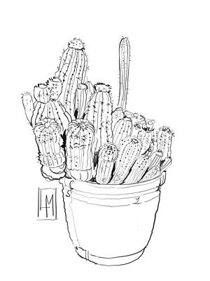 Black And White Ink Illustrations - Line Drawing of A pot of Cactus by Luisa Millicent