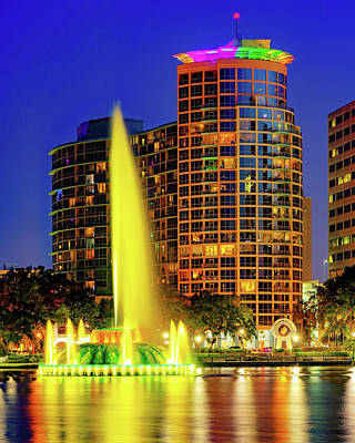 Royalty-Free and Rights-Managed Images - Linton Allen Lake Eola Memorial Fountain at Dusk - Orlando Florida by Gregory Ballos