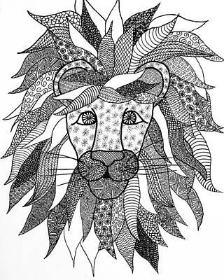 Animals Drawings - Lion by Alyssa Zuercher