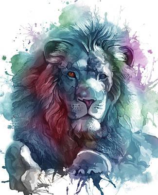 Animals Digital Art - Lion Artistic Colorful by Bekim M