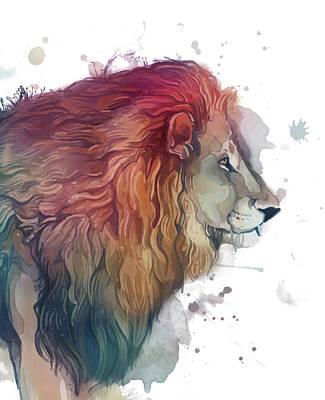 Animals Digital Art - Lion Color Silhouette by Bekim M
