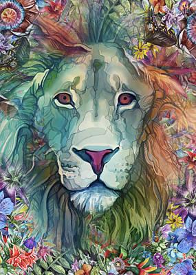 Animals Digital Art - Lion Head Tropical by Bekim M