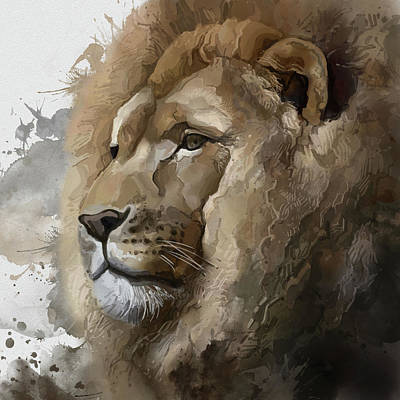 Animals Digital Art - Lion Head Vintage by Bekim M