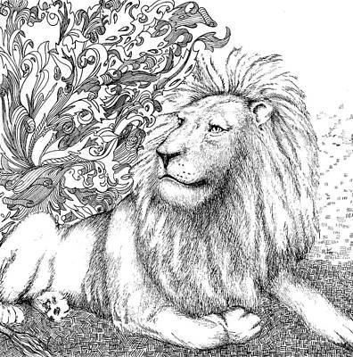 Animals Drawings - Lion by Jennifer Wheatley Wolf