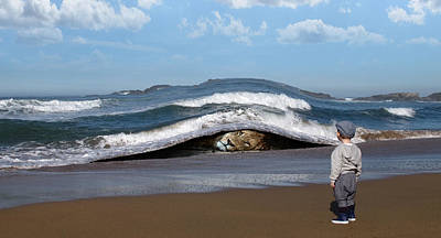 Surrealism Digital Art - Lion Lying Down On The Beach and Child Staring Surreal by Barroa Artworks