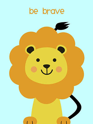 Animals Digital Art - Jungle animals lion nursery art  by Mihaela Pater