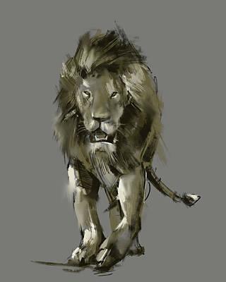 Animals Digital Art - Lion Pop Art by Bekim M