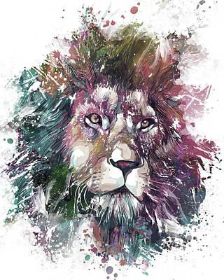 Animals Digital Art - Lion Portrait Artistic by Bekim M