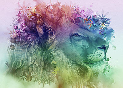 Royalty-Free and Rights-Managed Images - Lion Portrait Floral by Bekim M