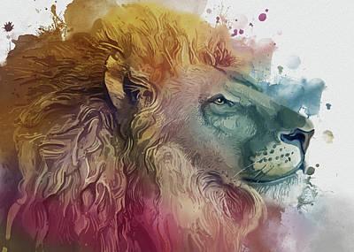 Animals Digital Art - Lion Portrait Watercolor by Bekim M