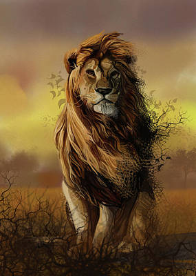Animals Digital Art - Lion Proud by Bekim M
