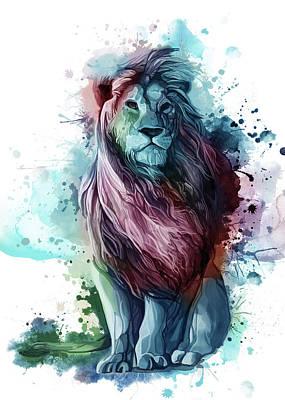 Animals Digital Art - Lion Proud Color by Bekim M