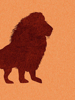 Royalty-Free and Rights-Managed Images - Lion Silhouette - Scandinavian Nursery Decor - Animal Friends - For Kids Room - Minimal by Studio Grafiikka