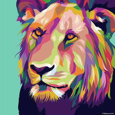 Royalty-Free and Rights-Managed Images - Lion by Stars on Art