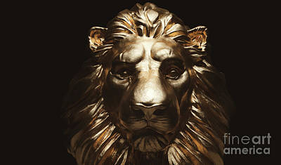 Modern Sophistication Beaches And Waves Royalty Free Images - Lion statue, a gold sculpture. Concept of a guard, power and proud animal. Royalty-Free Image by Michal Bednarek