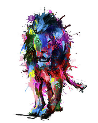 Animals Digital Art - Lion Vibrant Pop Art by Bekim M