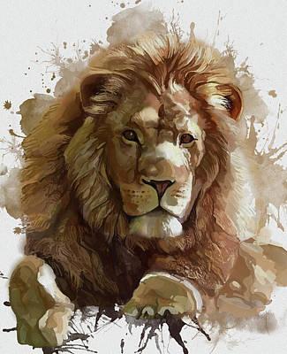 Animals Digital Art - Lion Vintage Artistic by Bekim M
