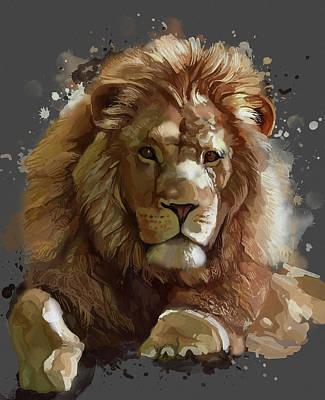 Animals Digital Art - Lion Vintage Artistic V2 by Bekim M