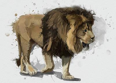 Animals Digital Art - Lion Vintage by Bekim M
