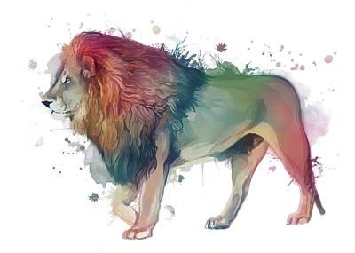 Animals Digital Art - Lion Watercolor Colorful by Bekim M