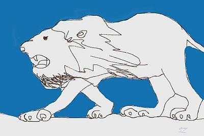 Animals Drawings - Lion with Blue by Samuel Zylstra