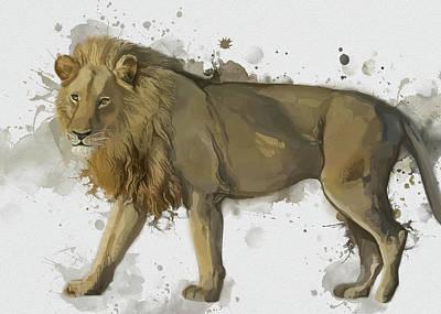 Animals Digital Art - Lion Yellow Vintage by Bekim M