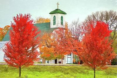 Mixed Media - Little Church in Autumn by Susan Rydberg