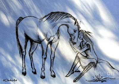 Animals Drawings - A Girl and Her Horse by Jean Clarke