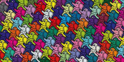 Digital Art - Little Elephants by Rosa Dorenbos