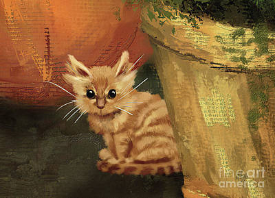 Digital Art - Little Lost Kitten by Lois Bryan