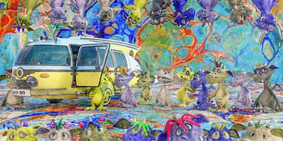 Surrealism Digital Art - Little Monsters Field Trip by Betsy Knapp