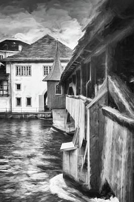 Studio Grafika Science - Little Wooden Bridge Lucerne Switzerland Black and White  by Carol Japp