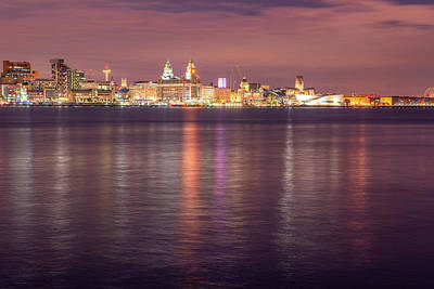 Photograph - Liverpool Waterfront at Night by David Wood