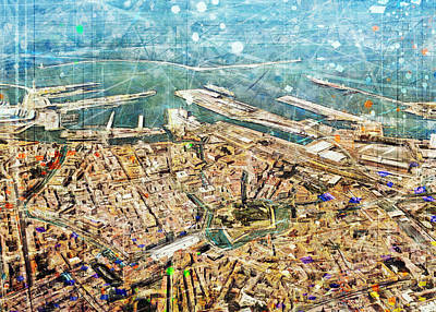 Surrealism Digital Art - Livorno aerial panorama by Andrea Gatti