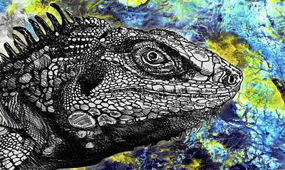 Animals Drawings - Lizard Profile by Doug LaRue