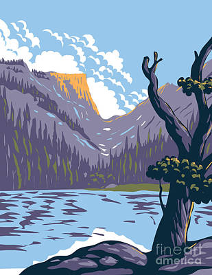 The Champagne Collection - Loch Lake in Rocky Mountain National Park Within Front Range of Rocky Mountains Located in Northern Colorado WPA Poster Art by Aloysius Patrimonio
