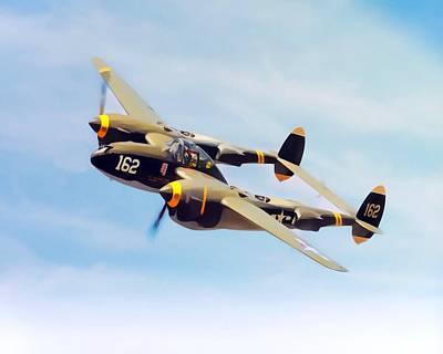 Transportation Digital Art - Lockheed P-38 Lightning Painting  by Scott Wallace Digital Designs