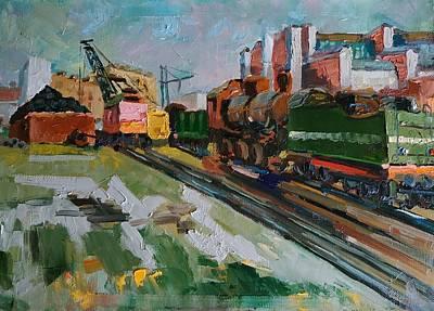 Painting - Locomotive depot.  by Nina Silaeva
