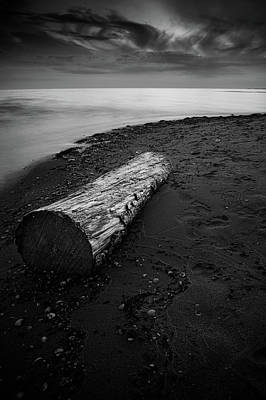 Pittsburgh According To Ron Magnes - Log on the beach #1 in black and white by Patrik Abrahamsson