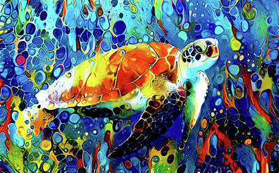 Just Desserts Rights Managed Images - Loggerhead Sea Turtle - Creatures of the Deep Series Royalty-Free Image by Susan Maxwell Schmidt